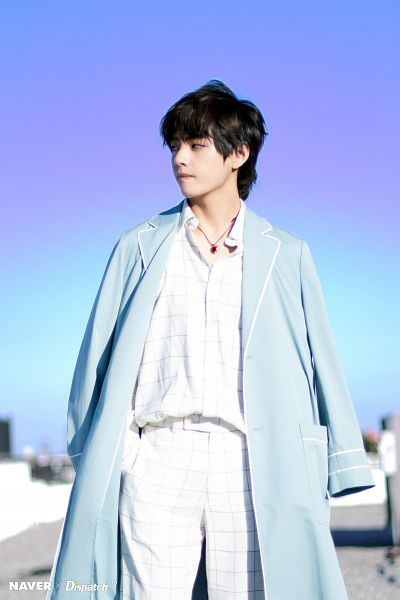 Tags: K-Pop, BTS, V (Kim Taehyung), Open Coat, Coat, Plaided Print, Day, Necklace, Outdoors, Hand In Pocket, Plaided Shirt, Sky