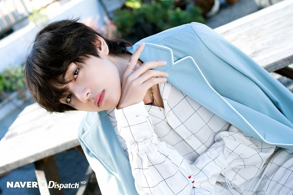 Tags: K-Pop, BTS, V (Kim Taehyung), Plaided Print, Collar (Clothes), Outdoors, Necklace, Plaided Shirt, Table, Plant, Dutch Angle, Open Coat
