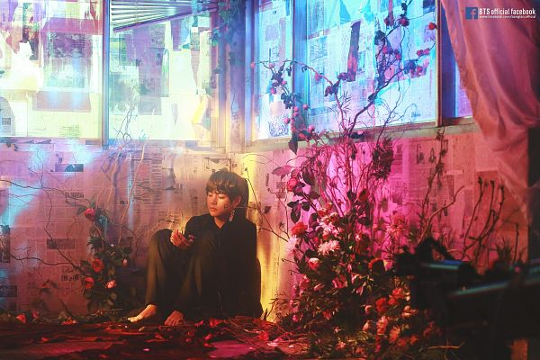 Tags: K-Pop, Bangtan Boys, Singularity, V (Kim Taehyung), Petals, Pants, Plant, Coat, Text: URL, English Text, Red Flower, Flower