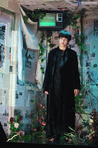 Tags: K-Pop, BTS, Singularity, V (Kim Taehyung), English Text, Head Tilt, Black Outerwear, Barefoot, Leaf, Striped Shirt, White Flower, Coat