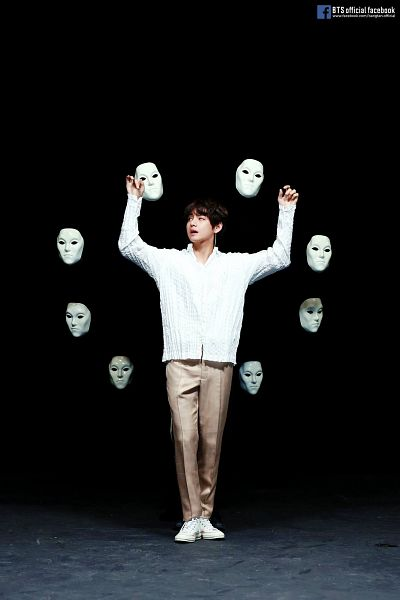 Tags: K-Pop, BTS, Singularity, V (Kim Taehyung), Text: Artist Name, Dark Background, Sneakers, Dancing, Mask, English Text, White Footwear, Arms Up