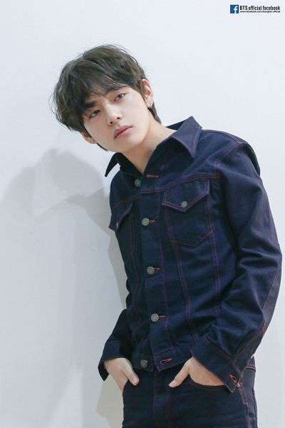Tags: K-Pop, BTS, V (Kim Taehyung), Looking Ahead, Text: URL, English Text, Denim Jacket, Collar (Clothes), Light Background, Text: Artist Name, Gray Background, Hand In Pocket