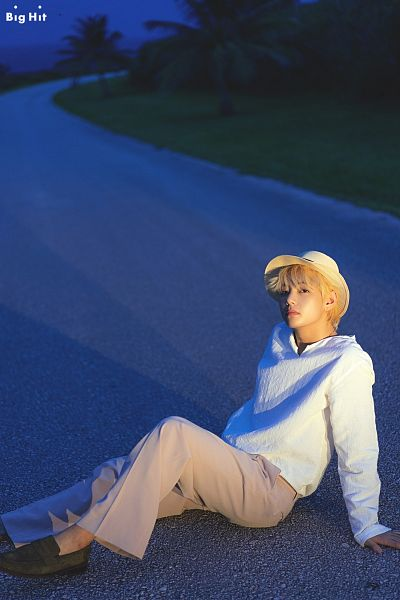 Tags: K-Pop, BTS, V (Kim Taehyung), Necklace, Night, Text: Company Name, Hat, Sky, English Text, Sitting On Ground, Tree, Shoes