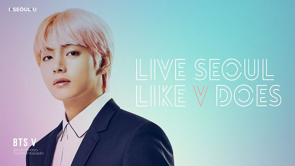 Tags: K-Pop, BTS, V (Kim Taehyung), Collar (Clothes), English Text, Gradient Background, Light Background, Text: Artist Name, Close Up, Multi-colored Hair, I·SEOUL·U, Wallpaper