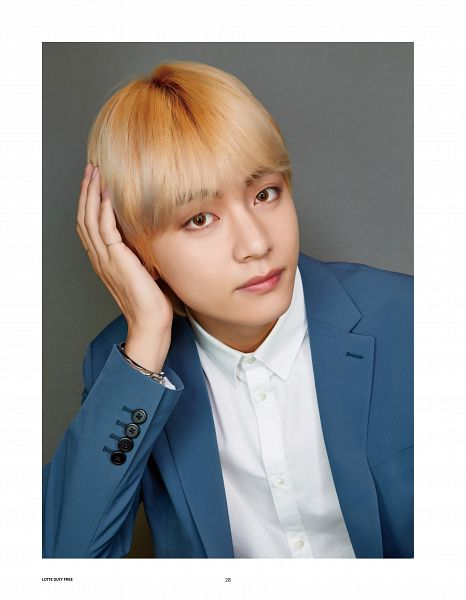 Tags: K-Pop, BTS, V (Kim Taehyung), Ring, Blue Jacket, Suit, Blue Outerwear, Magazine Scan, Scan, Lotte Duty Free