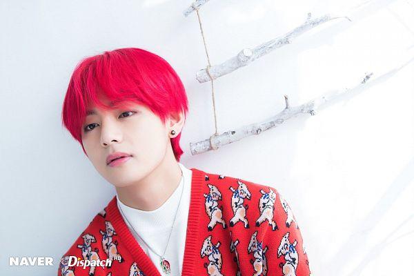 Tags: K-Pop, BTS, V (Kim Taehyung), Red Hair, Red Shirt, Animal Print, Necklace, Dispatch