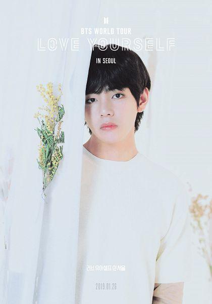 Tags: K-Pop, BTS, V (Kim Taehyung), English Text, Korean Text, Flower, Curtain, Black Eyes, Serious, Text: Calendar Date, Poster, BTS World Tour: Love Yourself