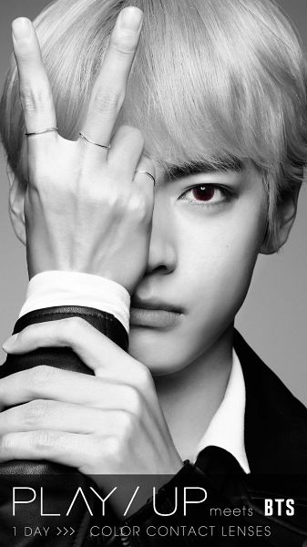 Tags: K-Pop, Bangtan Boys, V (Kim Taehyung), Monochrome, Contact Lenses, Ring, Serious, Play Up