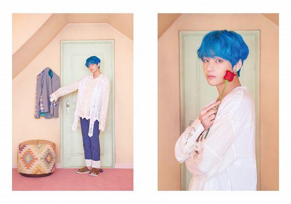 Tags: K-Pop, BTS, V (Kim Taehyung), Rose (flower), Slippers, Shoes, Door, Collarbone, Frame, Collage, Head Tilt, White Border