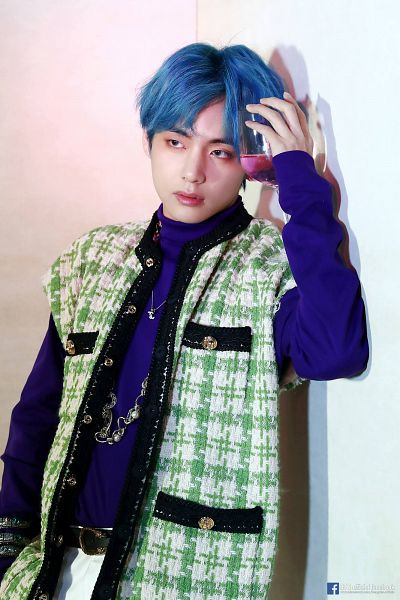 Tags: K-Pop, BTS, V (Kim Taehyung), Wine Glass, Cup, Blue Hair, Alcohol, Green Outerwear, English Text, Wine, Black Eyes, Text: URL
