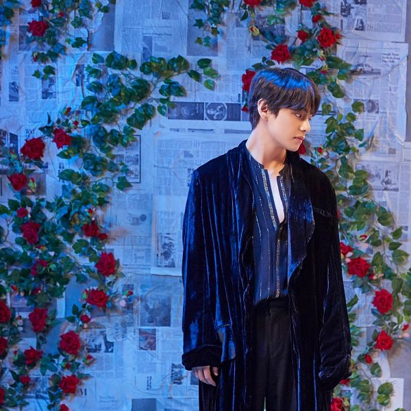 Tags: K-Pop, BTS, Singularity, V (Kim Taehyung), Red Flower, Robe, Black Pants, Looking Down, Flower, Rose (flower), 2019 BTS Festa, Instagram