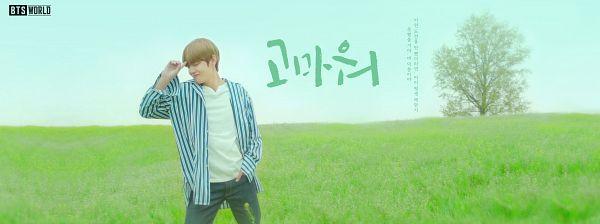 Tags: K-Pop, BTS, V (Kim Taehyung), Hand In Pocket, Plant, Eyes Closed, Striped, Striped Shirt, Korean Text, English Text, Grass, Tree
