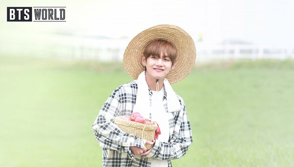 Tags: K-Pop, BTS, V (Kim Taehyung), Fruits, Plaided Print, Apple, Hat, Plaided Shirt, Grass, Basket, English Text, Netmarble