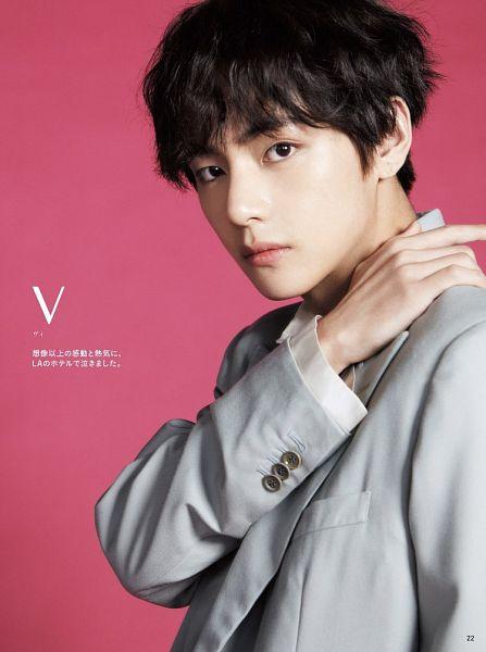 Tags: K-Pop, Bangtan Boys, V (Kim Taehyung), Text: Artist Name, Pink Background, Japanese Text, Magazine Scan, Anan Magazine