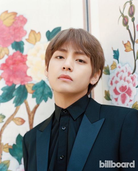 Tags: K-Pop, BTS, V (Kim Taehyung), Floral Background, Black Outerwear, Black Shirt, Black Jacket, Black Eyes, Flower, Magazine Scan, Billboard