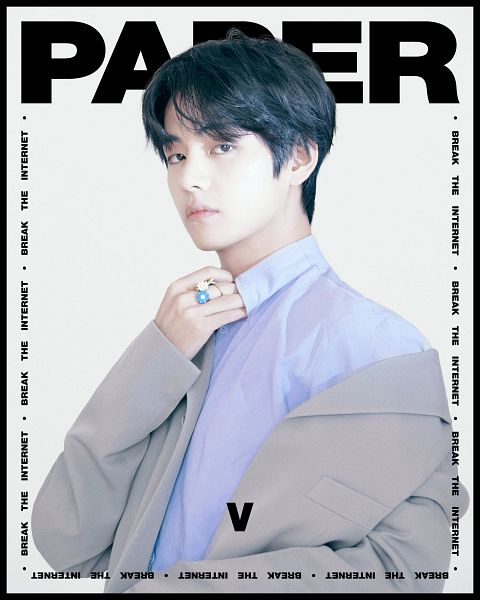 Tags: K-Pop, BTS, V (Kim Taehyung), Light Background, White Background, Serious, Ring, Close Up, Text: Magazine Name, English Text, Text: Artist Name, Magazine Scan