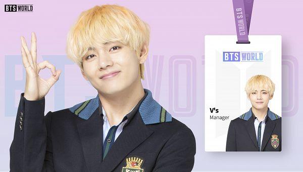 Tags: K-Pop, BTS, V (Kim Taehyung), A-ok, Text: Artist Name, Black Outerwear, Black Jacket, English Text, Purple Background, BTS World, Netmarble