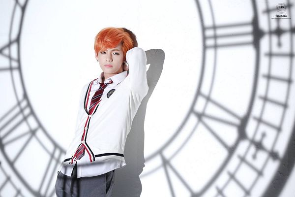 Tags: K-Pop, Bangtan Boys, Just One Day, V (Kim Taehyung), Red Neckwear, Pants, Hand On Neck, Jacket, Clock, Light Background, Shadow, Red Hair