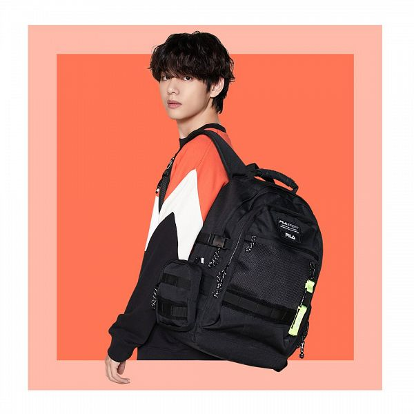 Tags: K-Pop, BTS, V (Kim Taehyung), Bag, Orange Background, Sweater, Backpack, White Border, Wavy Hair, Twitter, Instagram, Fila
