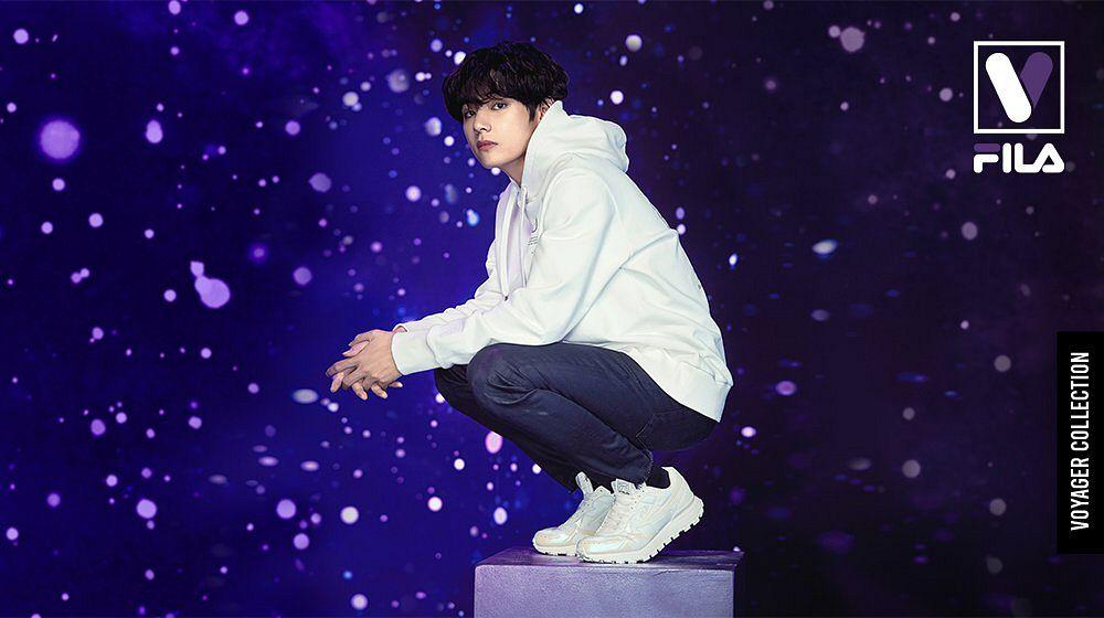Tags: K-Pop, BTS, V (Kim Taehyung), Sky, Hood, White Footwear, Black Eyes, Space, Hoodie, Crouching, English Text, White Outerwear