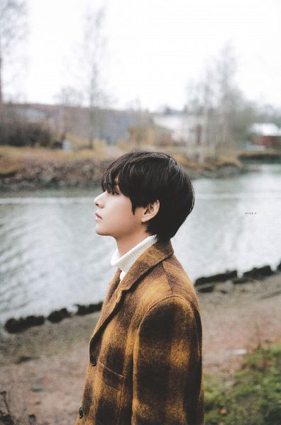 Tags: K-Pop, BTS, V (Kim Taehyung), Plaided Print, Outdoors, Side View, Serious, Collar (Clothes), River, Coat, Black Eyes, Brown Outerwear