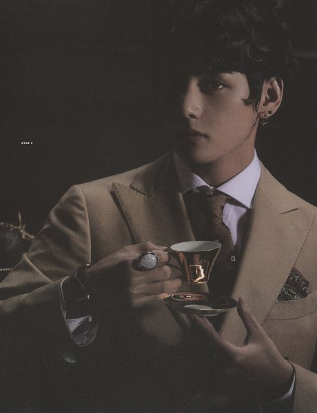 Tags: K-Pop, BTS, V (Kim Taehyung), Suit, Black Background, Holding Object, Brown Outerwear, Tie, Close Up, Ring, Watch, Brown Neckwear