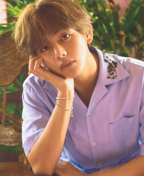Tags: K-Pop, BTS, V (Kim Taehyung), Hand On Cheek, Plant, Collar (Clothes), Leaf, Sitting On Chair, Hand On Head, Short Sleeves, Arm Support, Bracelet