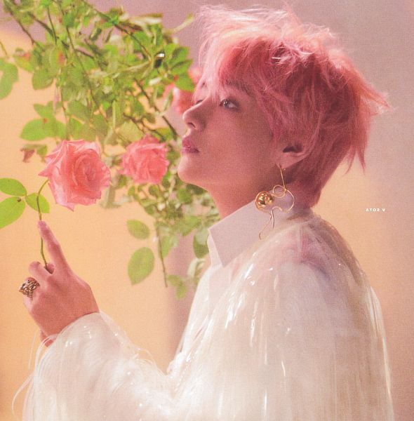 Tags: K-Pop, BTS, V (Kim Taehyung), Rose (flower), Close Up, Pink Flower, Light Background, Ring, Looking Up, Leaf, Side View, Collar (Clothes)