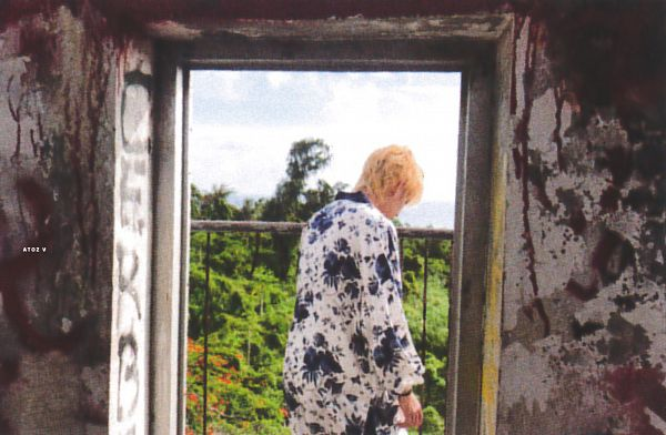 Tags: K-Pop, BTS, V (Kim Taehyung), Graffiti, Back, Fence, Floral Shirt, Looking Down, Floral Print, Scan, BTS 2018 Summer Package