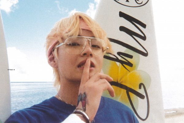 Tags: K-Pop, BTS, V (Kim Taehyung), Grin, Hairband, Bracelet, Outdoors, Headdress, Water, Blue Shirt, Shush, Glasses
