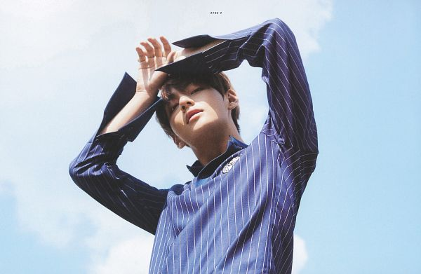 Tags: K-Pop, BTS, V (Kim Taehyung), Black Eyes, From Below, Looking Down, Blue Shirt, Striped, Sky, Hand On Head, Arms Up, Clouds