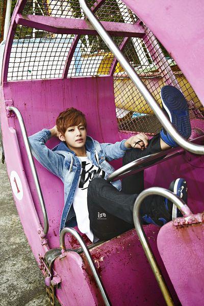 Tags: K-Pop, BTS, V (Kim Taehyung), Amusement Park, Ferris Wheel, Blue Jacket, Black Pants, Blue Outerwear, Eyeliner, Denim Jacket, Make Up, Blue Footwear
