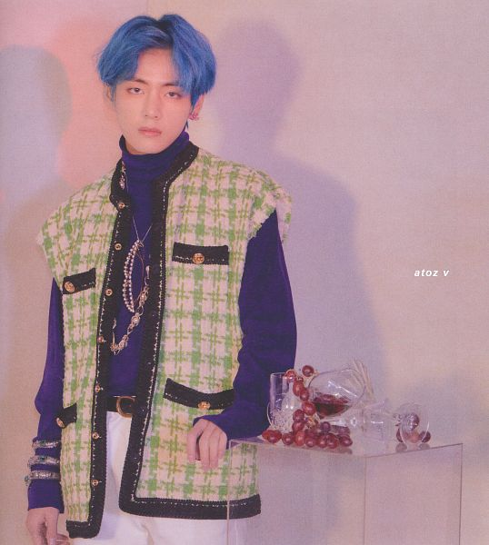 Tags: K-Pop, BTS, V (Kim Taehyung), Glass (Cup), Bracelet, White Pants, Wine Glass, Blue Hair, Grapes, Fruits, Vest, Blue Eyes