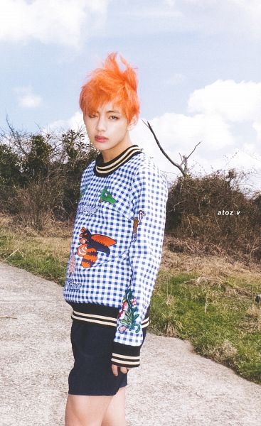 Tags: K-Pop, BTS, V (Kim Taehyung), Clouds, Socks, Plant, Outdoors, Sky, Contact Lenses, Shorts, Blue Shorts, Wind