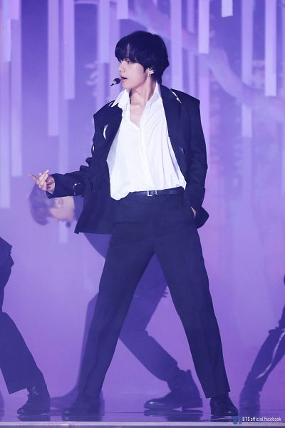 Tags: K-Pop, BTS, Black Swan, V (Kim Taehyung), Belt, Duo, Stage, English Text, Singing, Collarbone, Boots, Text: Artist Name
