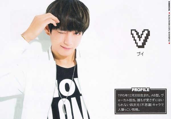 Tags: K-Pop, BTS, V (Kim Taehyung), Black Eyes, Wink, Japanese Text, Necklace, White Outerwear, White Jacket, Light Background, Text: Artist Name, White Background
