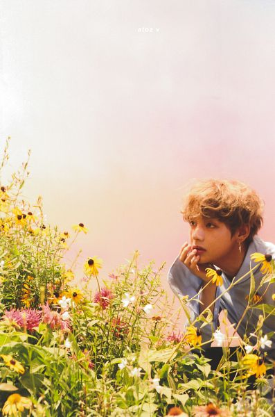 Tags: K-Pop, BTS, V (Kim Taehyung), Chin In Hand, Pink Flower, Flower, Serious, Blue Shirt, Yellow Flower, 24/7 = Serendipity, Love Yourself: Her