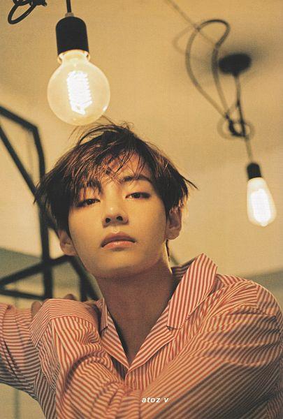 Tags: K-Pop, BTS, V (Kim Taehyung), Striped Shirt, Hand On Shoulder, Red Shirt, Serious, Indoors, Striped, Light Bulb, Star1, Magazine Scan