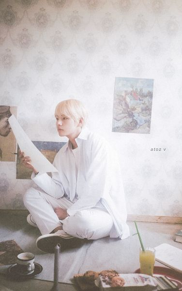 Tags: K-Pop, BTS, V (Kim Taehyung), Cup, White Pants, Pencil, Serious, Glass (Cup), Canvas, Crossed Legs, Sitting On Ground, BTS 2019 Season's Greetings