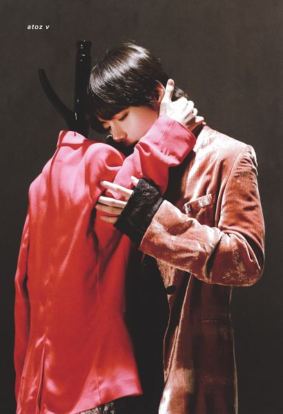Tags: K-Pop, BTS, Singularity, V (Kim Taehyung), Brown Background, Looking Down, Robe, Doll, Mannequin, Red Jacket, Eyes Closed, Red Outerwear