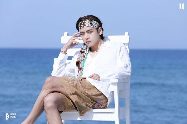 Tags: K-Pop, BTS, Butter, V (Kim Taehyung), Shorts, Water, Sea, Frown, Stool, Bracelet, Bandana, Sitting On Chair