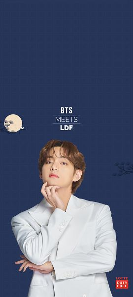 Tags: K-Pop, BTS, V (Kim Taehyung), Moon, Chin In Hand, White Jacket, Suit, White Outerwear, Serious, Blue Background, Chuseok, Lotte Duty Free