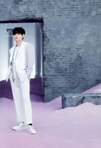 Tags: K-Pop, BTS, V (Kim Taehyung), Wall, Purple Outerwear, White Pants, Serious, Column, Purple Jacket, Sand, Hand In Pocket, BTS The Best