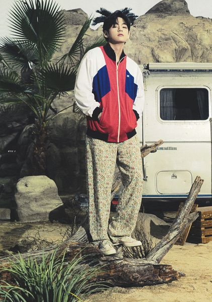 Tags: K-Pop, BTS, V (Kim Taehyung), Palm Tree, Rocks, Door, Hand In Pocket, Floral Pants, Floral Print, Tree, Outdoors, Car