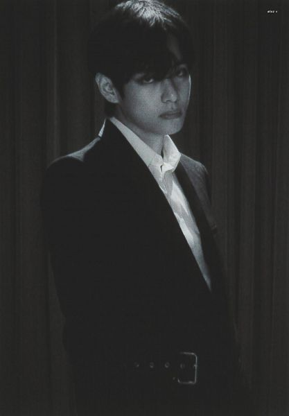 Tags: K-Pop, BTS, V (Kim Taehyung), Monochrome, Belt, Suit, Curtain, Serious, Scan, Map of the Soul: 7 ~The Journey~