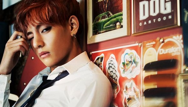 Tags: K-Pop, Bangtan Boys, V (Kim Taehyung), Leaning On Wall, Earrings, Close Up, Tie, Hand In Hair, Wink, Skool Luv Affair, Wallpaper
