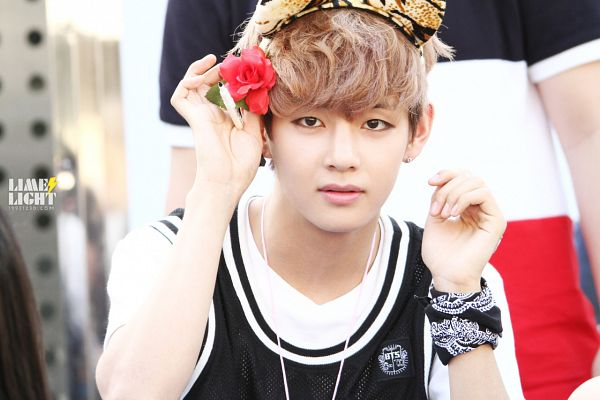Tags: K-Pop, BTS, V (Kim Taehyung), Tank Top, Animal Ears, Rose (flower), Holding Object, Red Flower, Short Sleeves, Hair Flower, Looking Ahead, Necklace