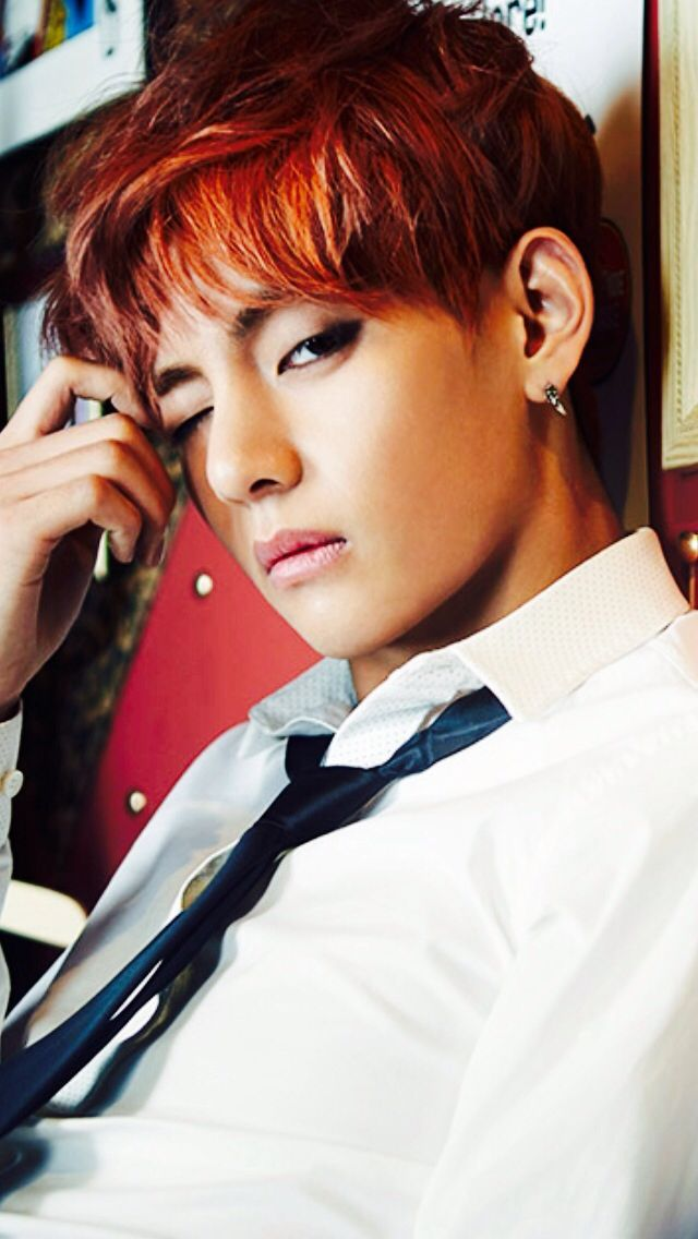 Tags: K-Pop, BTS, V (Kim Taehyung), Wink, Red Hair, Black Eyes, Tie, Serious, Skool Luv Affair