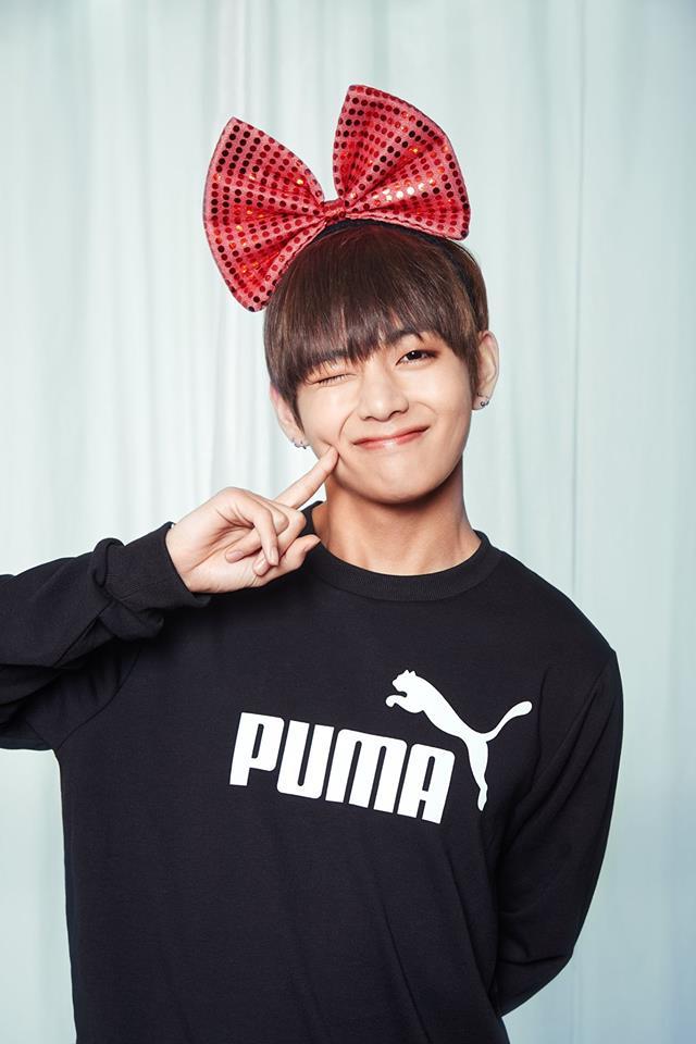Tags: K-Pop, BTS, V (Kim Taehyung), Hair Bow, Wink, Hair Ornament, Black Eyes, Bow, Red Bow, Puma