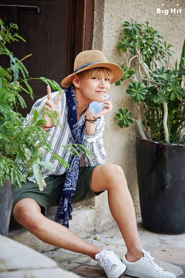 Tags: K-Pop, BTS, V (Kim Taehyung), Striped, Striped Shirt, V Gesture, Bottle, Hat, Bracelet, Green Shorts, BTS 2016 Summer Package